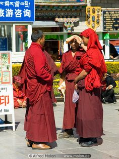 Tibetan buddhist monks China Tibet Lhasa Barkhor area