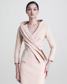 Matte Stretch Crossover Jacket by Donna Karan at Neiman Marcus.