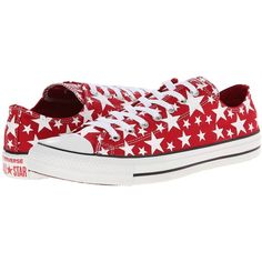 Converse Chuck Taylor All Star Multi Star Print Ox Shoes, Red (2.025 RUB) ❤ liked on Polyvore featuring shoes, sneakers, shoes/boots, converse, red, grip trainer, red sneakers, laced shoes, lace up shoes and red shoes