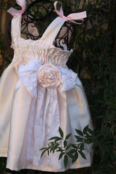 Lacey satin and lace flower girl dress for by cookiesandcostumes, $75.00