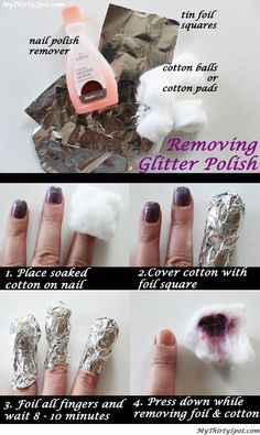 How To Remove Glitter Polish Easily. Every girl needs this tip for that pesky glitter polish. #nailpolish #beauty #beautytips