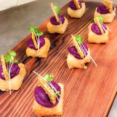 Haven't done these in a while.  Purple yam + miso on crispy sushi rice, sesame brittle and spicy mustard greens. Tastes like a fried donut   #catering #canapé #eventvatering #vancouver #style #miso #rice #bwak