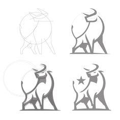(null) by Fraser Davidson Cow Cartoon Images, Goat Logo, Logo Sketches, Taurus Tattoos, Arte Tribal, Logo Concept, Animal Logo, Logo Design Inspiration, Sticker Design
