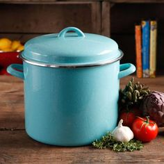 The Pioneer Woman Vintage Speckle 12-Quart Stock Pot with Hollow Side Handles - SO need this!