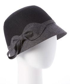 Another great find on #zulily! Black & Dark Gray Color Block Wool-Blend Cloche #zulilyfinds