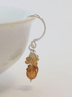 Hessonite Garnet Earrings Wire Wrapped by StellaZigantiDesigns, $26.00