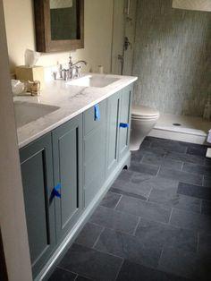 Galvano Charcoal Floor Tiles In The Bathroom 12x24