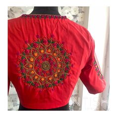 """Intish by Chintya ™️ on Instagram: """"Stun in this classic motif on a red blouse back . Hand embroidered with intricate bead work and beautiful colour combinations. DM FOR MORE…"""""""