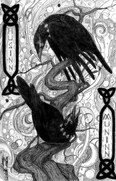 In Norse mythology, Huginn and Muninn (Old Norse for thought and memory) are a pair of ravens that fly all over the world, Midgard, and bring information to the god Odin. Crow Art, Raven Art, Bird Art, Thor, Tattoo Odin, Tatto Viking, Symbole Viking, Quoth The Raven, Crows Ravens