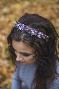 586db8835c7 Items similar to Violet Beaded headband Wedding crystal tiara bridal purple  jeweled headband Baroque dolce Headband Wedding hair accessory for  bridesmaids ...