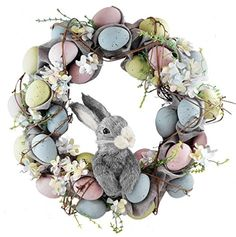 """Pastel Easter Eggs with Bunny Wreath - 18"""" Caffco"""