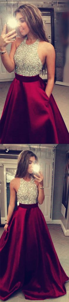 Burgundy Prom Dresses Ball Gowns Evening Dresses With Beaded Halter Neckline P2507