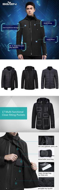 Functional Jacket Coat for Men : Intelligent Hoodied / Black Mtil