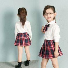 19.90$  Watch now - http://alikkq.shopchina.info/go.php?t=32795067480 - Preppy Style children's school uniform clothing dresses 2pcs/set bow tie white shirts+Red plaid Short skirts fashion 19.90$ #shopstyle