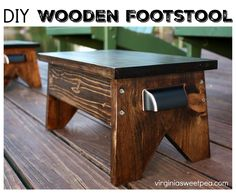 DIY Wooden Footstool - Learn how to make your own. Get the plans at virginiasweetpea.com #summerpowertoolchallenge #woodworking