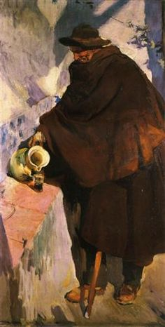 Elderly Castellano Pouring Wine - Joaquín Sorolla - Completion Date: 1907