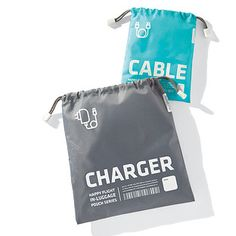 Keep your cables and chargers organized and identifiable with our In-Luggage Drawstring Pouches. Their light material and drawstring ties are great for easy toting during travel or to and from work!