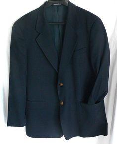 Valentino Uomo Men's Sport Coat Blazer Black Gold Tone Buttons Italy Virgin Wool #ValentinoUomo #TwoButton