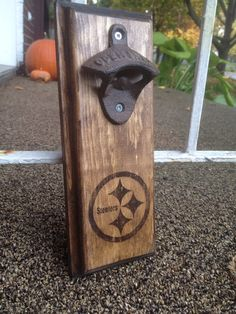 This is a Wall Mounted Bottle Opener on Rustic Wood, great for any home, garage, cottage, shed or man cave. Pittsburgh Steelers Opener The opener