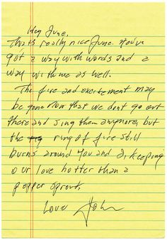 A love letter from Johnny Cash to June Carter Cash. Makes my heart melt! SO glad I have a love like Johnny and June! Johnny Cash June Carter, Johnny Und June, Letters Of Note, Love Letters, The Words, Johnny Cash Love Letter, Look At You, Just For You, Sweet Love Notes