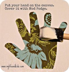 Mothers day craft for kids: handprint canvases.