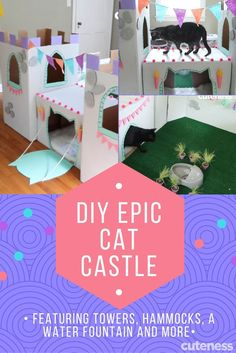 This EPIC cat castle is made of cardboard and just a few other materials. It includes a fountain, hammocks, a drawbridge, and towers. Your cat will LOVE IT!!! (Cat Diy Projects)