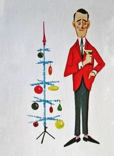 Retro Christmas man w/ martini illustration