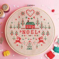 Christmas cross stitch pattern Noel Christmas by redbeardesign