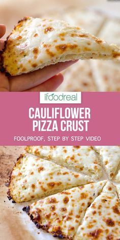 How to make THE BEST crispy and tasty low carb cauliflower pizza crust with foolproof step by step video recipe. Healthy Pizza Recipes, Healthy Family Meals, Bread Recipes, Keto Recipes, Cooking Recipes, Healthy Snacks, Family Recipes, Heathy Pizza, Healthy Foods To Make