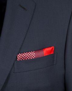 BRIONI Pochette rouge et bleu marine à motif minuscule Pochette Homme d  Pochette Homme, Rouge f0d358726f5