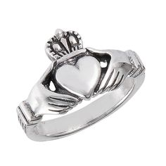 10mm Classic Claddagh Hands Sterling Silver Ring Sizes: 5, 6, 7, 8, 9, 10, 11, 12, 13