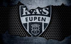 Download wallpapers Eupen, 4k, logo, ESL Pro League, soccer, football club, Belgium, grunge, KAS Eupen, metal texture, Eupen FC