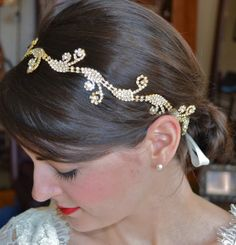 Gold Swirl Bridal Headband, Rhinestone Hairband Ocean Waves, Mermaid Crystal Halo on Etsy, $58.00