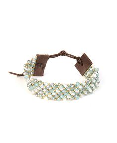 Chan Luu Gold Seed and Crystal Mint Nylon Cord Bracelet