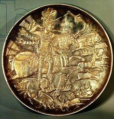 Dish depicting King Yazdgerd III (632-651) hunting (gilded silver) Title: Sasanian School, (7th century