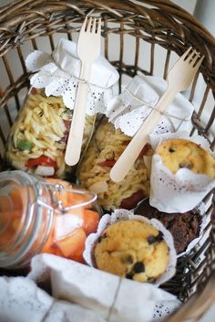 Picnic Basket - Pasta Salad in a jar, Chocolate Chip & Dark Chocolate Muffins, Cubed Cantaloupe in a jar.