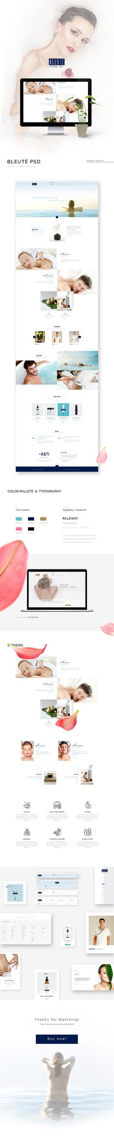 Bleute - Beauty | Spa | Hair | Wellness/Salon PSD - PSD Templates | ThemeForest  Bleuté is super clean and minimal design. It is so suitable for Spa centres and the other beauty services like: hair, nail, makeup…