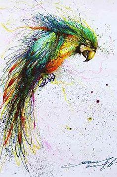 L'artiste a représenté un oiseau multicolore avec des taches de peinture de différentes couleurs autour. La technique utilisé est probablement la peinture acrylique. En observant cette oeuvre, j'ai ressentie de la fascination parce que je la trouve très réaliste et un peu abstraite en même temps à cause de la précision du corps de l'oiseau et les taches abstraites à coté.