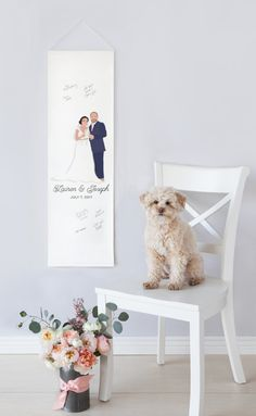 This canvas wedding banner guest book alternative is perfect for a modern wedding (as an alternative to the traditional guest book) and features a customized portrait of the couple and your names and date.