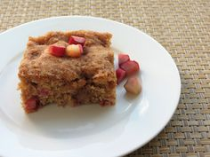 The rhubarb coffee cake is filled with plenty of tart rhubarb goodness.