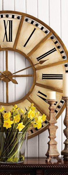 "Train Station Clock / ""consider large scale in any room over feet. Big Clocks, Wood Clocks, Large Clock, Train Station Clock, Oversized Clocks, Ivy House, Clock Decor, Home Decor Accessories, Home Accents"