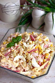"""""""Paseczkowa"""" sałatka z ryżem – Smaki na talerzu Pasta Salad, Macaroni And Cheese, Grilling, Salads, Food And Drink, Menu, Cooking, Ethnic Recipes, Party Ideas"""