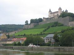Wurzburg, Germany - Amazing castle with a vineyard on the slope.