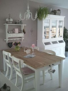 Shabby Chic Dining Room Ideas Images) - Home Magez Shabby Chic Dining Room, Shabby Chic Kitchen, Vintage Shabby Chic, Shabby Chic Homes, Shabby Chic Furniture, Shabby Chic Decor, Dining Rooms, Comedor Shabby Chic, Muebles Shabby Chic