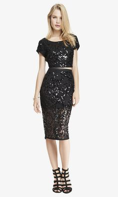 LACE SEQUIN MIDI PENCIL SKIRT | Express