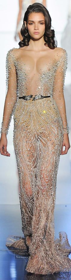 Zuhair Murad Spring 2015 nude evening dress couture fashion show Beauty And Fashion, Look Fashion, High Fashion, Fashion Show, Fashion Design, Zuhair Murad Spring 2015, Couture Fashion, Runway Fashion, Abed Mahfouz