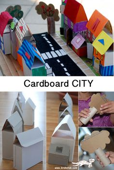 children activities, more than 2000 coloring pages Cardboard City, Cardboard Box Crafts, Paper Crafts, Hand Crafts For Kids, Projects For Kids, Diy For Kids, Indoor Activities For Kids, Craft Activities For Kids, Preschool Activities