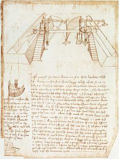 Leonardo da Vinci-Facsimile of Codex Atlanticus 363vb Pulley System for the Construction of a Staircase (original copy #TuscanyAgriturismoGiratola