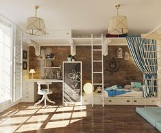 A girl's bedroom gives off a nautical feel with a weathered wood like wallcovering, built-in galley like beds, and a vintage ship's wheel.