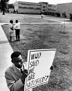 """High School picketer Houston, Texas, May 10, 1965 Unidentified photographer From """"Freedom Now!  Forgotten Photographs of the Civil Rights Movement"""" by Martin A. Berger"""